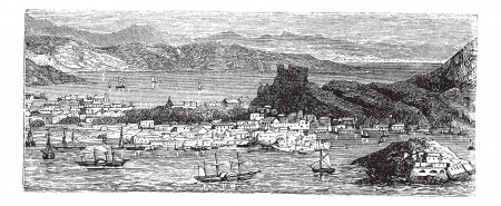 Christiansted in the U.S. Virgin Islands, during the 1890s, vintage engraving. Old engraved illustration of Christiansted.
