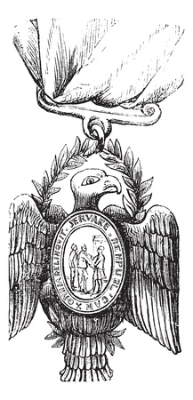 Society of the Cincinnati, vintage engraving. Old engraved illustration of a Society of the Cincinnati insignia showing a bald eagle. Stock Vector - 13770287