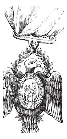 Society of the Cincinnati, vintage engraving. Old engraved illustration of a Society of the Cincinnati insignia showing a bald eagle. Stock Vector - 13770287