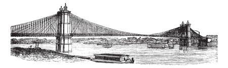 longest: John A. Roebling Suspension Bridge, from Cincinnati, Ohio to Covington, Kentucky, USA, during the 1890s, vintage engraving. Old engraved illustration of the John A. Roebling Suspension Bridge.