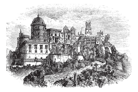 vitoria: Penha Convent, in Vila Velha, Brazil, during the 1890s, vintage engraving. Old engraved illustration of the Penha Convent. Illustration