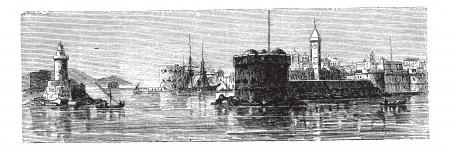 Civitavecchia, in Lazio, Italy, during the 1890s, vintage engraving. Old engraved illustration of Civitavecchia.  イラスト・ベクター素材