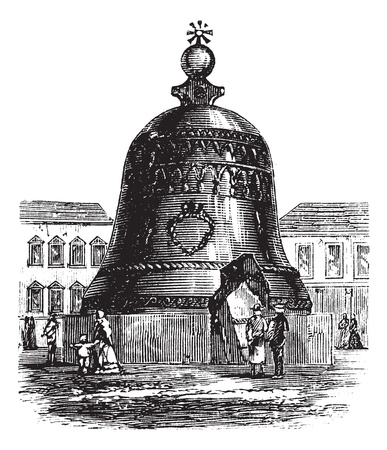 Tsar Bell or Tsarsky Kolokol or Tsar Kolokol III or Royal Bell, in Moscow, Russian Federation, during the 1890s, vintage engraving. Old engraved illustration of Tsar Bell showing a broken slab. Vector