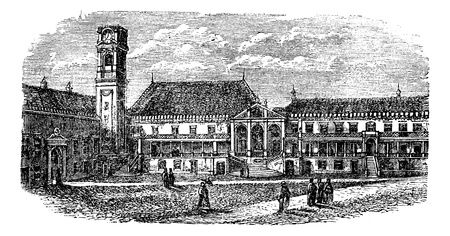 collegiate: University of Coimbra, in Coimbra, Portugal, during the 1890s, vintage engraving. Old engraved illustration of University of Coimbra.
