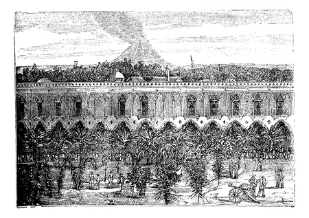 Colima Volcano, in Colima, Mexico, during the 1890s, vintage engraving. Old engraved illustration of Colima Volcano. Vector