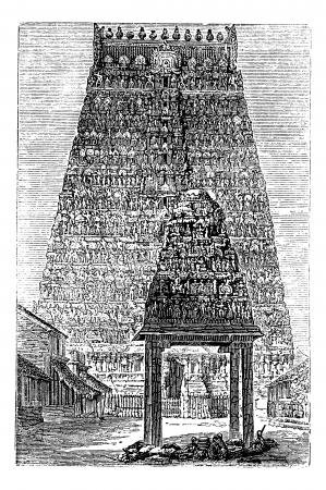 クンバコーナムまたは Coombaconum、タミル語 Nadu、インド、1890 年代の間にヴィンテージの彫刻。Xxxxx の古い彫刻が施された図。