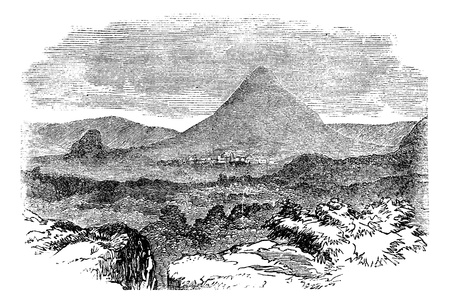 Comayagua, in Honduras, during the 1890s, vintage engraving. Old engraved illustration of Comayagua showing city and mountain. Vector