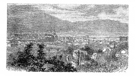 neoclassical: Como, in Lombardy, Italy, during the 1890s, vintage engraving. Old engraved illustration of Como.