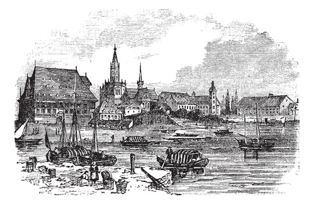 Konstanz in Baden-Württemberg, Germany, during the 1890s, vintage engraving. Old engraved illustration of Konstanz.