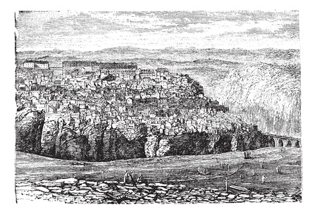 viaduct: Constantine, in Algeria, during the 1890s, vintage engraving. Old engraved illustration of Constantine.