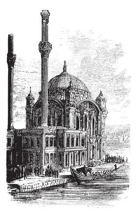 이스탄불, 터키의 술탄 아메드 모스크 또는 블루 모스크, 1890 년대 동안, 포도 수확, 조각. 오래 된 술탄 아메드 모스크의 그림을 새겨 져있다. 일러스트