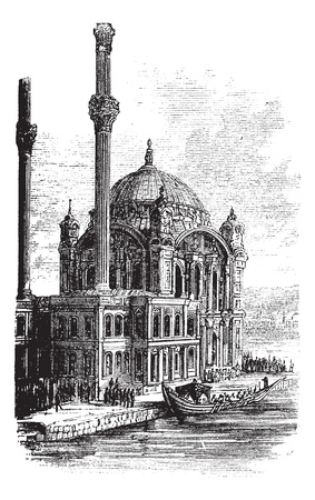 minaret: Sultan Ahmed Mosque or Blue Mosque in Istanbul, Turkey, during the 1890s, vintage engraving. Old engraved illustration of the Sultan Ahmed Mosque.