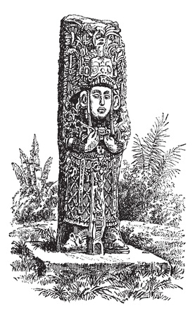 archaeology: Copan Monolith in Honduras, during the 1890s,vintage engraving. Old engraved illustration of a Copan Monolith.