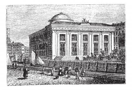 Thorvaldsen Museum in Copenhagen, Denmark, during the 1890s, vintage engraving. Old engraved illustration of the Thorvaldsen Museum.