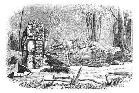 archaeological: Cop�n, en Honduras, durante la d�cada de 1890, el grabado de la vendimia. Ilustraci�n del Antiguo grabado que muestra la escultura de Cop�n las estelas.