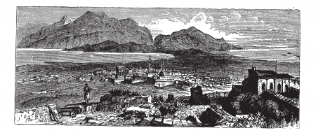 Acrocorinth in Corinth, Greece, during the 1890s, vintage engraving. Old engraved illustration of Acrocorinth. Vector