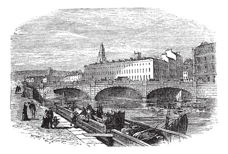 irish cities: Cork in Munster, Ireland, during the 1890s, vintage engraving. Old engraved illustration of Cork showing Saint Patricks Bridge and Cork City Hall. Illustration
