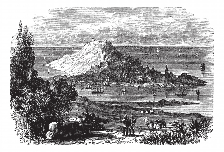 port of spain: Corunna in Galicia, Spain, during the 1890s, vintage engraving. Old engraved illustration of Corunna. Illustration