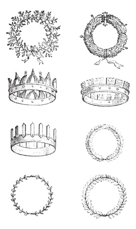 jeweled: Roman Crowns, vintage engraving. Old engraved illustration of different kinds of Roman Crowns. Illustration
