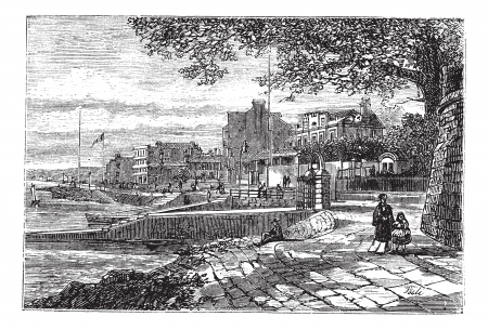 wight: Cowes Harbor in the Isle of Wight, England, United Kingdom, during the 1890s, vintage engraving. Old engraved illustration of Cowes Harbor. Illustration