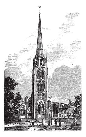 bell tower: Coventry Cathedral or Saint Michaels Cathedral in England, United Kingdom, during the 1890s, vintage engraving. Old engraved illustration of Coventry Cathedral showing the bell tower. Illustration
