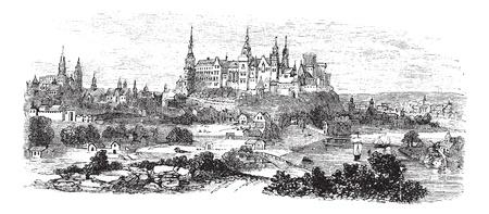 wawel: Wawel Castle or Royal Castle in Krakow, Poland, during the 1890s, vintage engraving. Old engraved illustration of Wawel Castle.