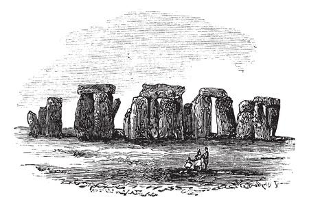 piedra laja: Cromlech, durante la d�cada de 1890, el grabado de la vendimia. Ilustraci�n del Antiguo grabado de un cromlech.