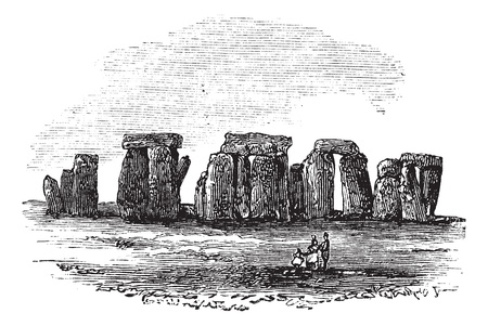 breton: Cromlech, during the 1890s, vintage engraving. Old engraved illustration of a Cromlech.
