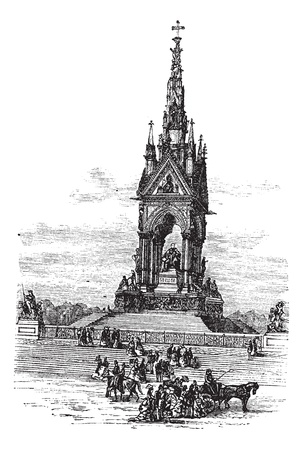 Waltham Cross in England, United Kingdom, during the 1890s, vintage engraving. Old engraved illustration of the Waltham Cross. Vectores