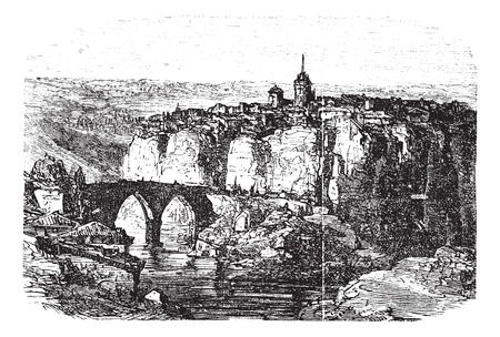 walled: Cuenca in Spain, during the 1890s, vintage engraving. Old engraved illustration of Cuenca.