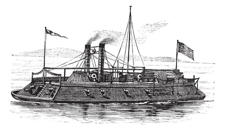 mississippi: USS Baron DeKalb, vintage engraved illustration. Trousset encyclopedia (1886 - 1891).