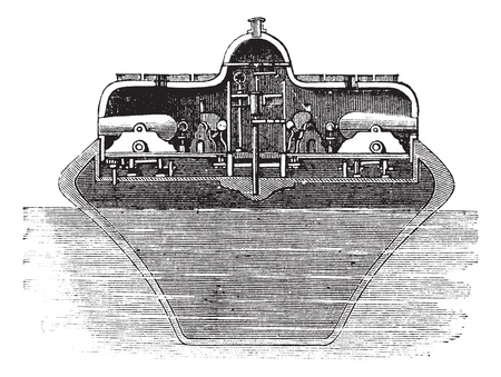 turret: Timbys Revolving Turret, installed on the USS Monitor, vintage engraved illustration. Trousset encyclopedia (1886 - 1891).