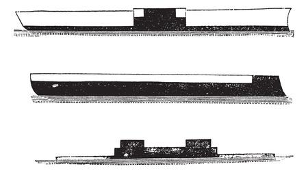 invincible: HMS Invincible, HMS Lord-Clyde, and HMS Cerberus, vintage engraved illustration. Trousset encyclopedia (1886 - 1891).