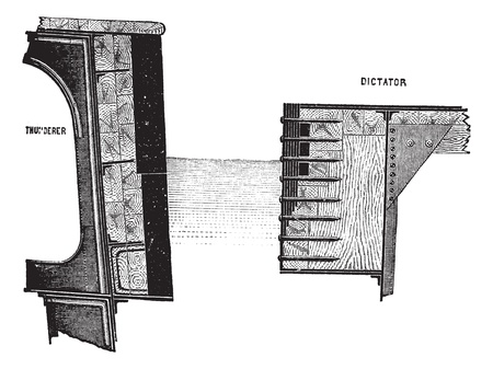 dictator: Cross-sections of the HMS Thunderer and the USS Dictator, vintage engraved illustration. Trousset encyclopedia (1886 - 1891). Illustration