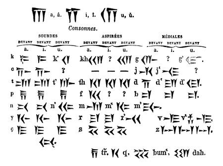cuneiform: Cuneiform Script, vintage engraved illustration. Trousset encyclopedia (1886 - 1891).