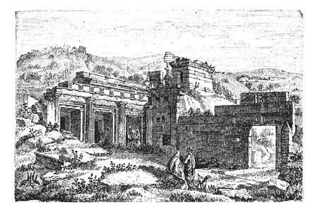 Ruines de Cyrène, en Shahhat, la Libye, au cours des années 1890, la gravure d'époque. Vieux illustration gravée des ruines de Cyrène. Banque d'images - 13772196