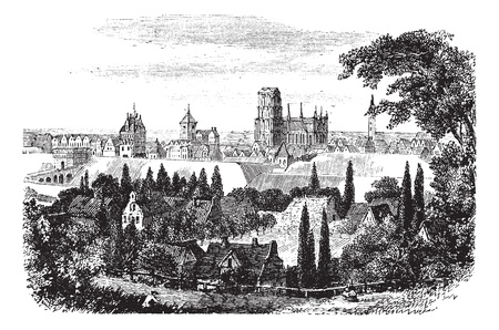 spot: Gdansk in Pomerania, Poland, during the 1890s, vintage engraving. Old engraved illustration of Gdansk. Illustration