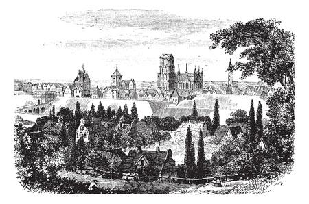 gdansk: Gdansk in Pomerania, Poland, during the 1890s, vintage engraving. Old engraved illustration of Gdansk. Illustration