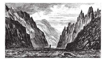 Iron Gates of the Danube River, between Romania and Serbia, during the 1890s, vintage engraving. Old engraved illustration of the Iron Gates of the Danube.