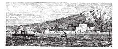Canakkale in Turkey, during the 1890s, vintage engraving. Old engraved illustration of Canakkale showing Kilitbahir Castle. Stock Vector - 13771661