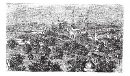 1890 년대 동안 인도 뉴 델리, 빈티지 조각. 올드 델리 새겨진 된 그림.