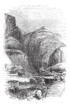 Delphi in Greece, during the 1890s, vintage engraving. Old engraved illustration of Delphi. Vector