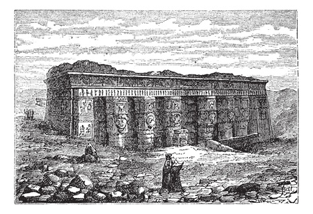 Temple of Hathor in Dendera, Egypt, during the 1890s, vintage engraving. Old engraved illustration of the Temple of Hathor. Çizim