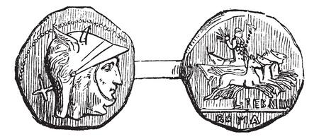 Antoniniano o Roman Coin, incisione vintage. Old illustrazione incisa di un antoniniano o anteriore che mostra Roman Coin (testa) e posteriore (coda) i lati. Archivio Fotografico - 13766907