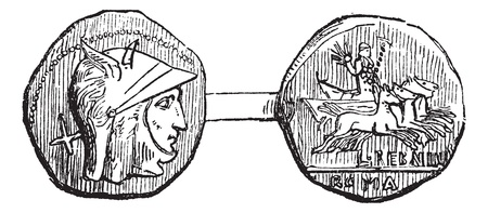Antoninianus or Roman Coin, vintage engraving. Old engraved illustration of an Antoninianus or Roman Coin showing front (head) and rear (tail) sides. Stock Illustratie