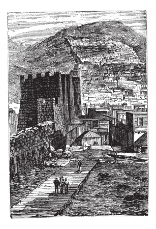 fortification: Derbent in Dagestan, Russian Federation, during the 1890s, vintage engraving. Old engraved illustration of Derbent.