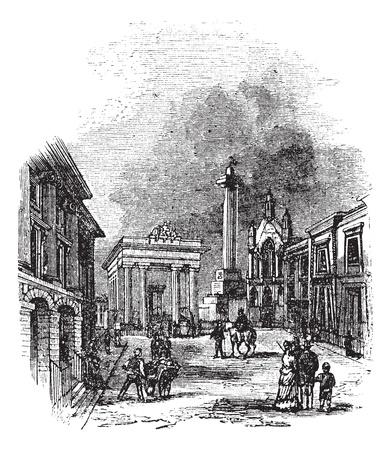 Devonport, en Devon, Inglaterra, Reino Unido, durante la década de 1890, el grabado de la vendimia. Ilustración del Antiguo grabado de Devonport mostrando Ayuntamiento y de la columna. Foto de archivo - 13772258