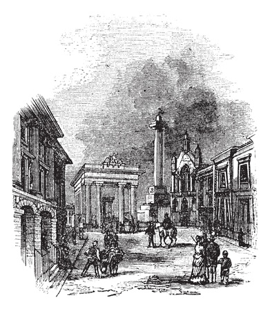 dockyard: Devonport in Devon, England, United Kingdom, during the 1890s, vintage engraving. Old engraved illustration of Devonport showing Town Hall and Column.