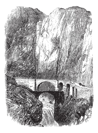 Devils Bridge in Uri, Switzerland, during the 1890s, vintage engraving. Old engraved illustration of the Devils Bridge. Vector