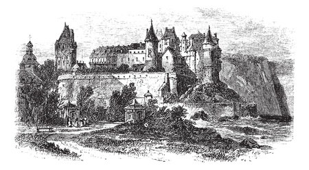 english culture: Castle Museum of Dieppe in Normandy, France, during the 1890s, vintage engraving. Old engraved illustration of the Castle Museum of Dieppe.